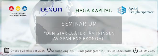 Seminarium: Den starka återhämtningen av Spaniens ekonomi – sthlm 26 okt